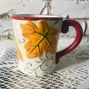 Pier 1 Imports coffee mug Fall Leaf  hand painted